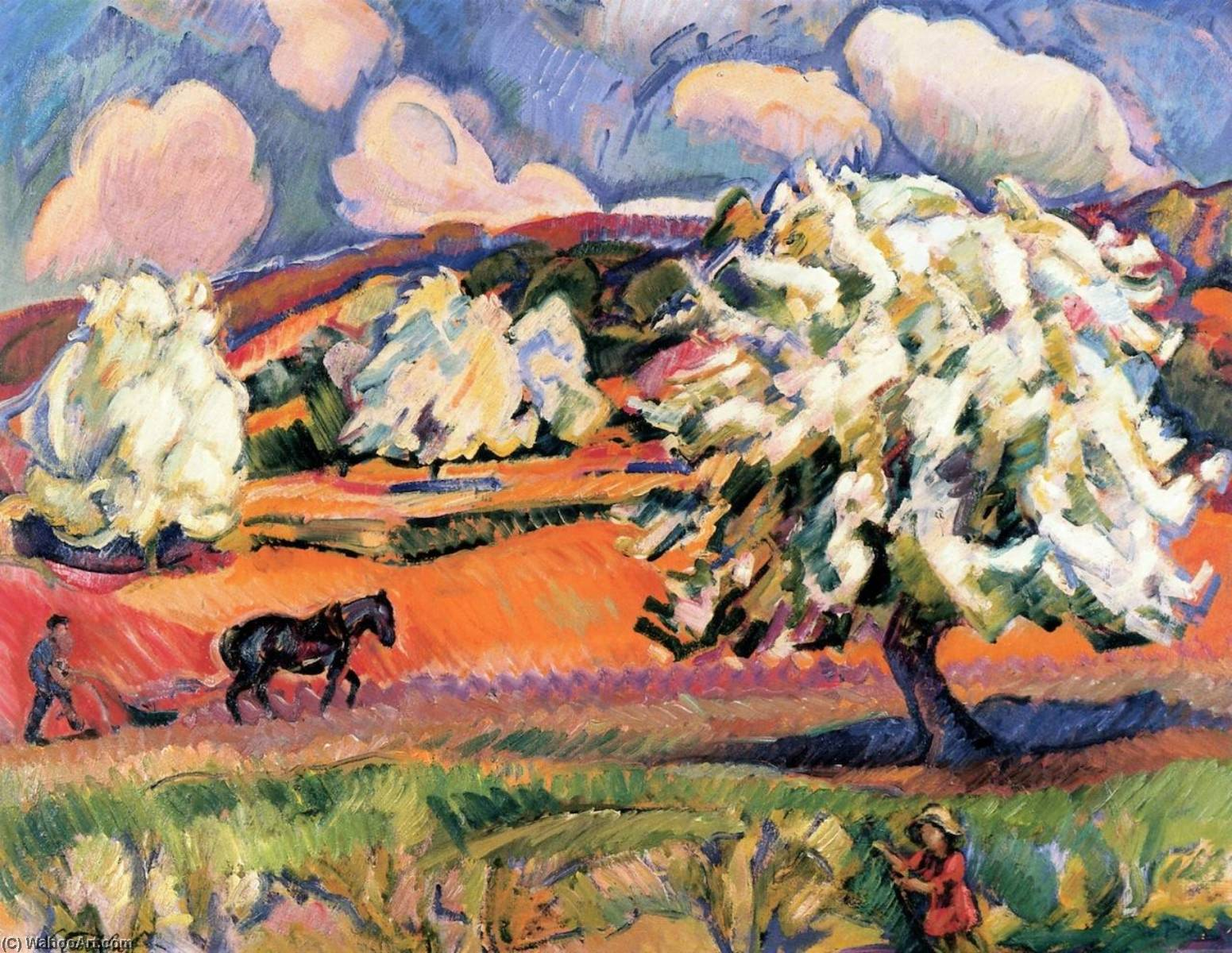 Landscape with Trees, Flowers and Peasant with Plough, 1912 by Nicolas Tarkhoff (1871-1930) | Art Reproduction | WahooArt.com