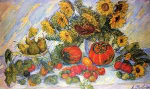 Order Famous Paintings Reproductions : Flowers, Fruit and Vegetables by Nicolas Tarkhoff (1871-1930) | WahooArt.com
