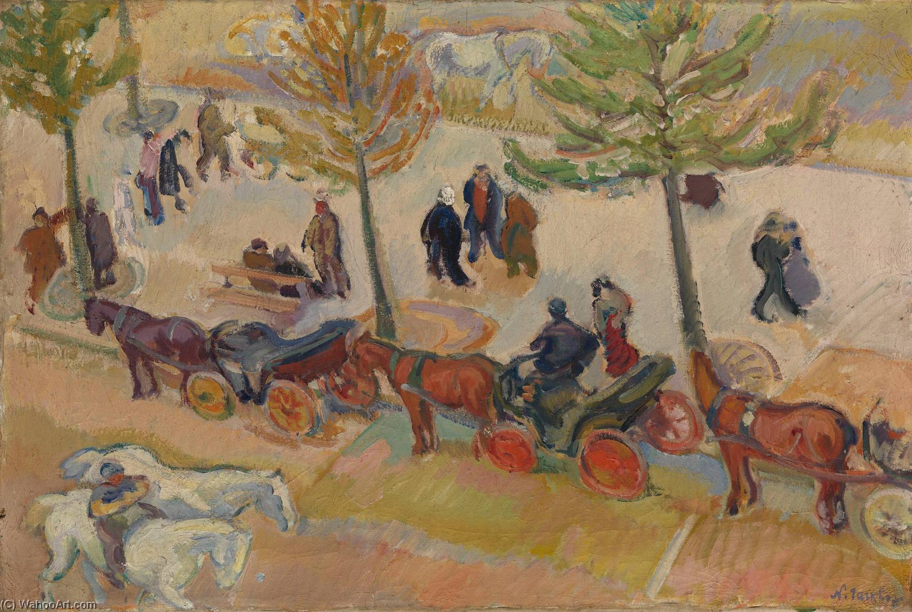 Fiacres Parking, Oil On Canvas by Nicolas Tarkhoff (1871-1930)