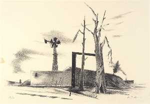 Karl Fortess - (Untitled Landscape with Windmill)