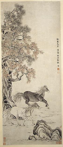 Order Museum Quality Reproductions : 清 雙駿圖 軸 Two Horses, 1793 by Qian Feng | WahooArt.com