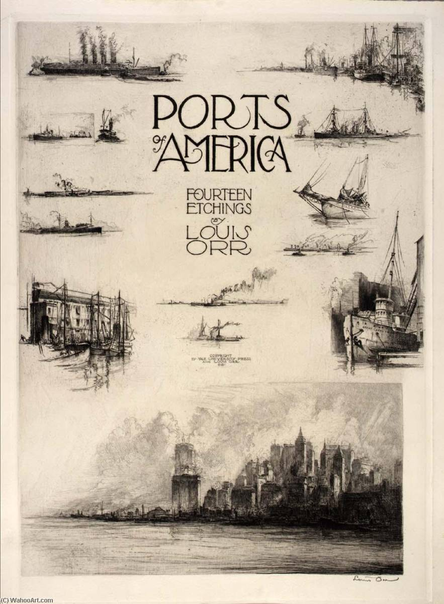 Title Page (Notes from the Artist's Sketchbook), from the portfolio, Ports of America, Etching by Louis Orr