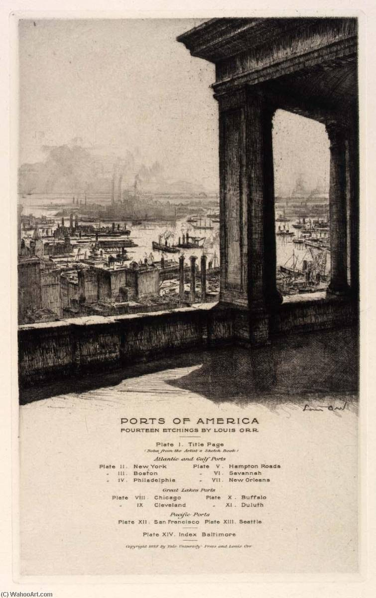 (Ports of America, portfolio) Baltimore (Index), Etching by Louis Orr