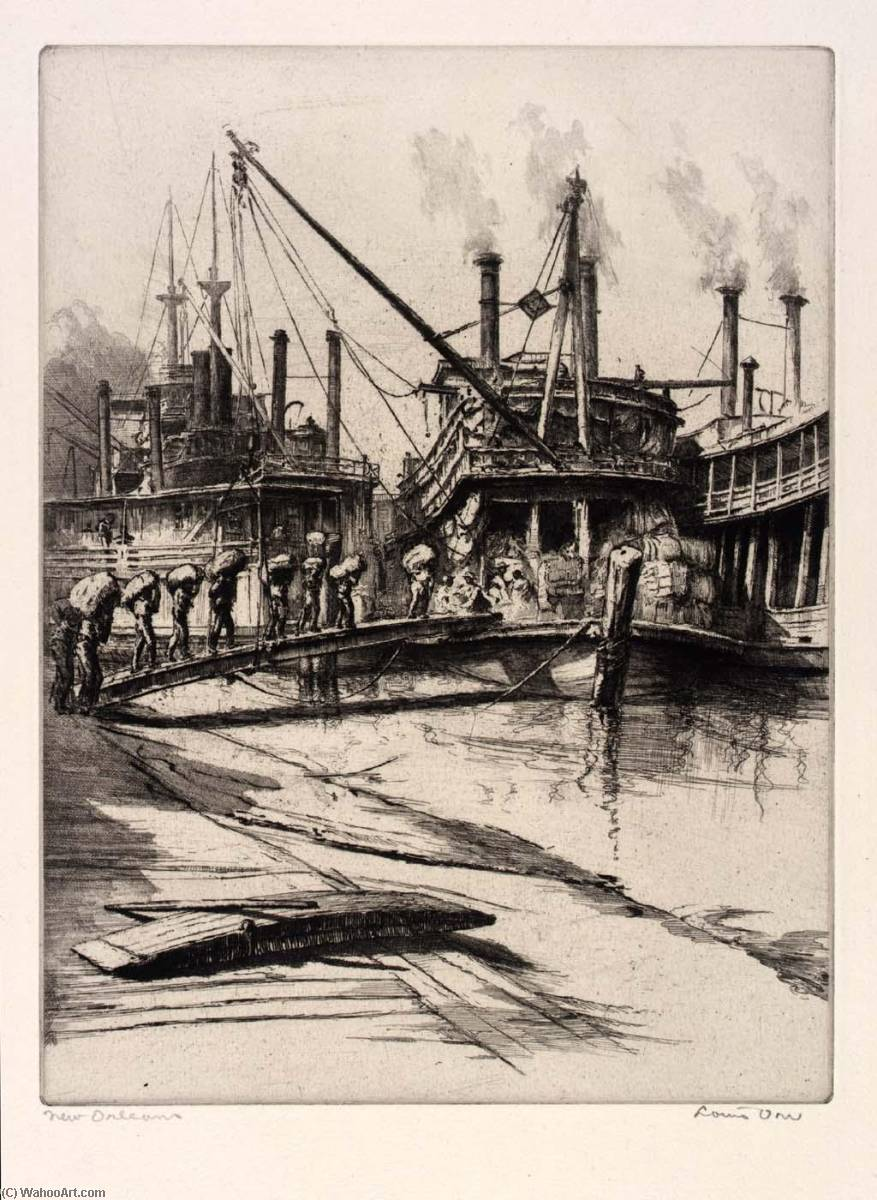 (Ports of America, portfolio) New Orleans, Etching by Louis Orr
