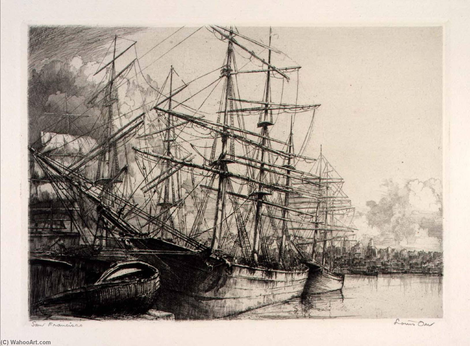 (Ports of America, portfolio) San Francisco, Etching by Louis Orr