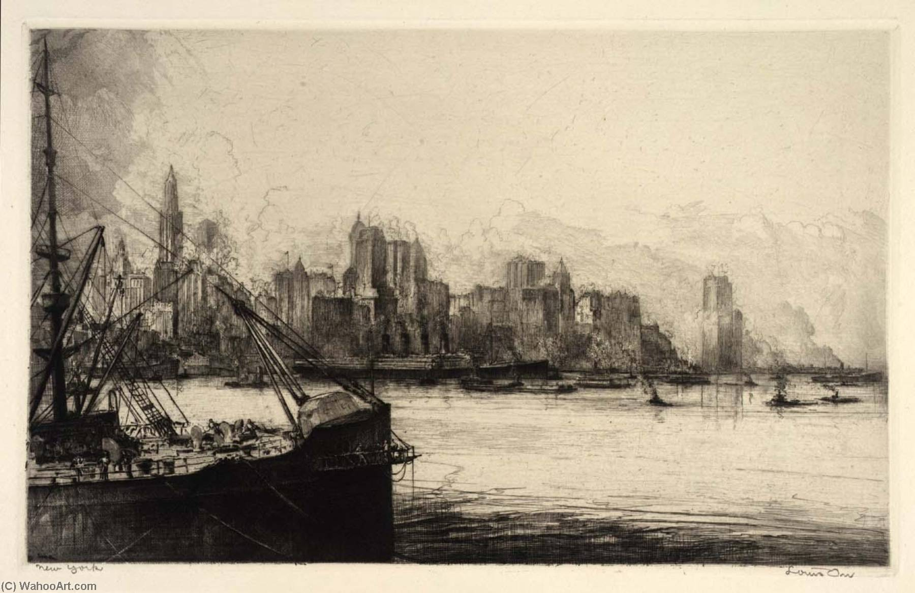 (Ports of America, portfolio) New York, Etching by Louis Orr
