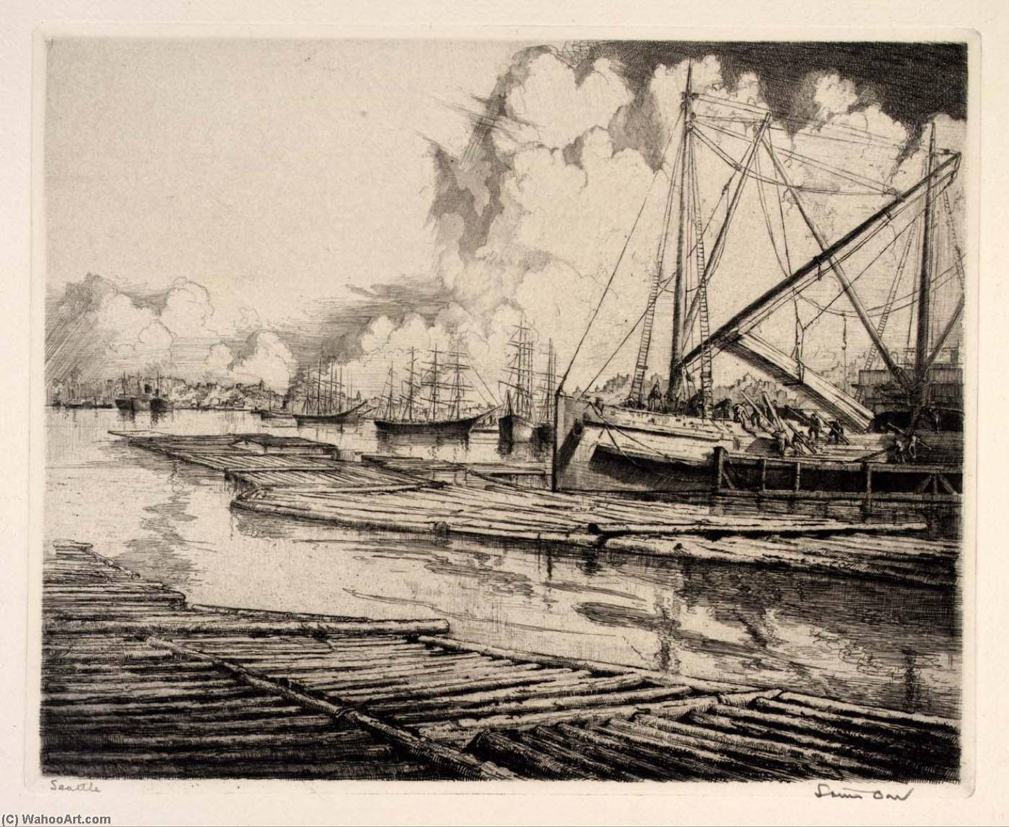 (Ports of America, portfolio) Seattle, Etching by Louis Orr