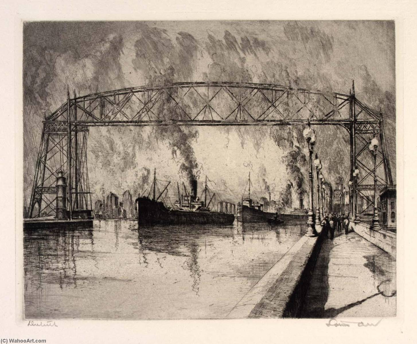 (Ports of America, portfolio) Duluth, Etching by Louis Orr