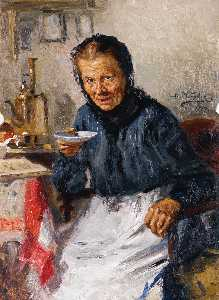 Vladimir Yegorovich Makovsky - Old Lady Drinking Tea