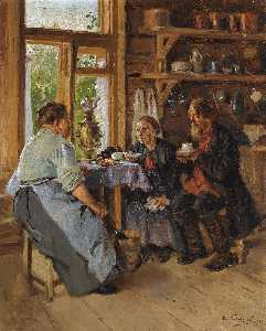 Order Museum Quality Reproductions : Visiting the Cook by Vladimir Yegorovich Makovsky (1846-1920, Russia) | WahooArt.com