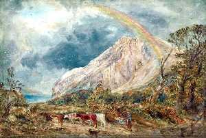 William Joseph Julius Caesar Bond - Landscape with a Rainbow and Cattle