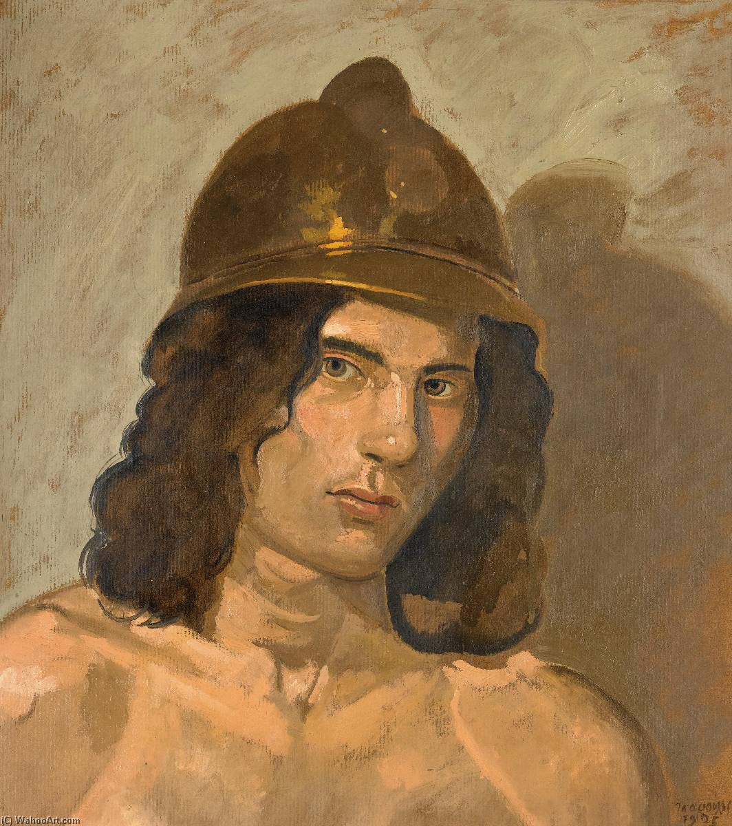 Young man with helmet (Portrait of Alain) by Yiannis Tsaroychis (1910-1989, Greece) |  | WahooArt.com