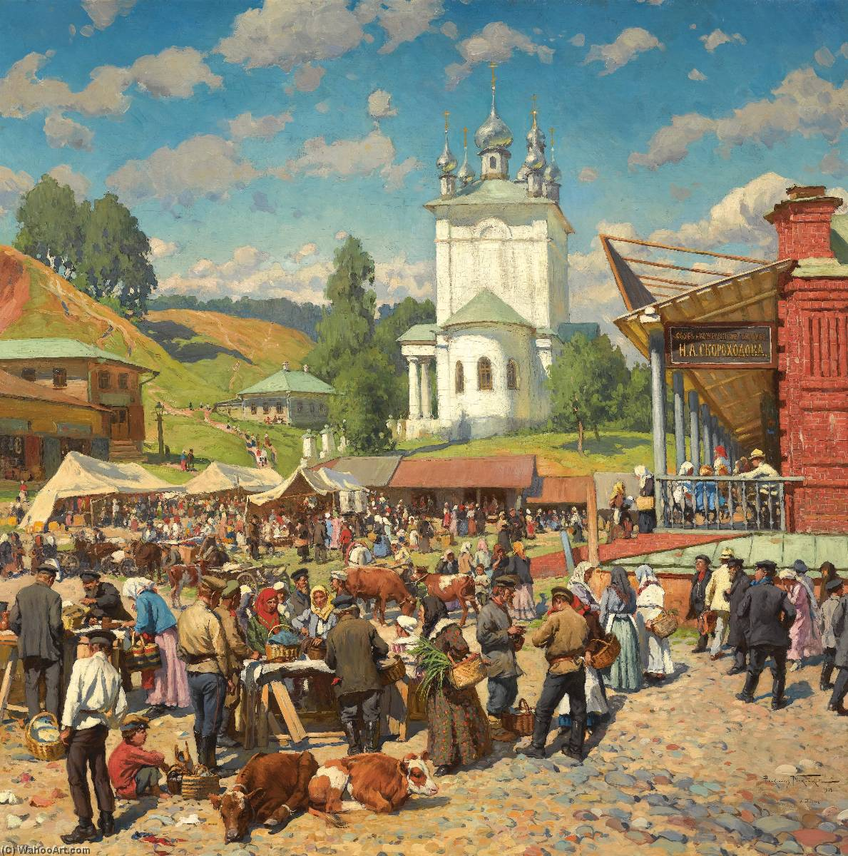 Market day in Plyos by Alexander Vladimirovich Makovsky | Museum Quality Reproductions | WahooArt.com