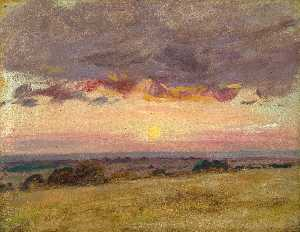 John Constable - Summer evening with storm clouds