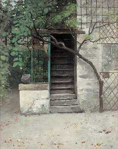 August Wilhelm Nikolaus Hagborg - House with Stairs and Trees