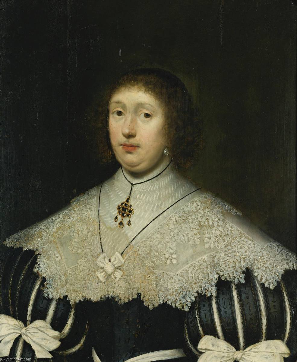 Portrait of a lady, Oil On Panel by Cornelis Jonson Van Ceulen (1593-1661, United Kingdom)