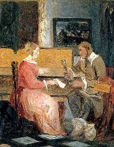 Joseph Clover - Man and Woman in an Interior Playing Music