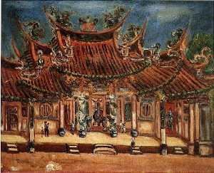 Chen Cheng Po - English Entrance of Temple Chen Cheng po Date Unknown Canvas Oil painting 59×70.5 cm 中文 廟口 陳澄波 年代未詳 畫布‧油彩 59×70.5 cm。