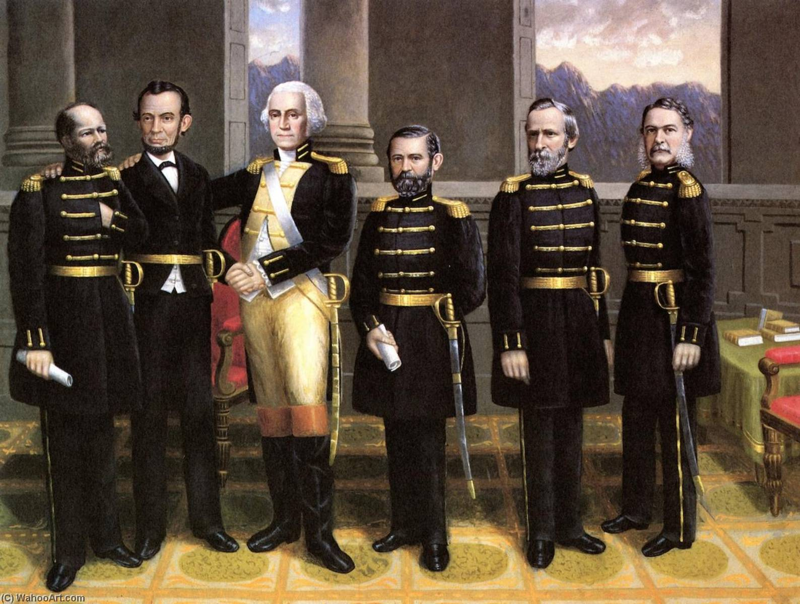 Lincoln with Washington and His Generals, 1881 by Erastus Salisbury Field | Museum Quality Reproductions | WahooArt.com