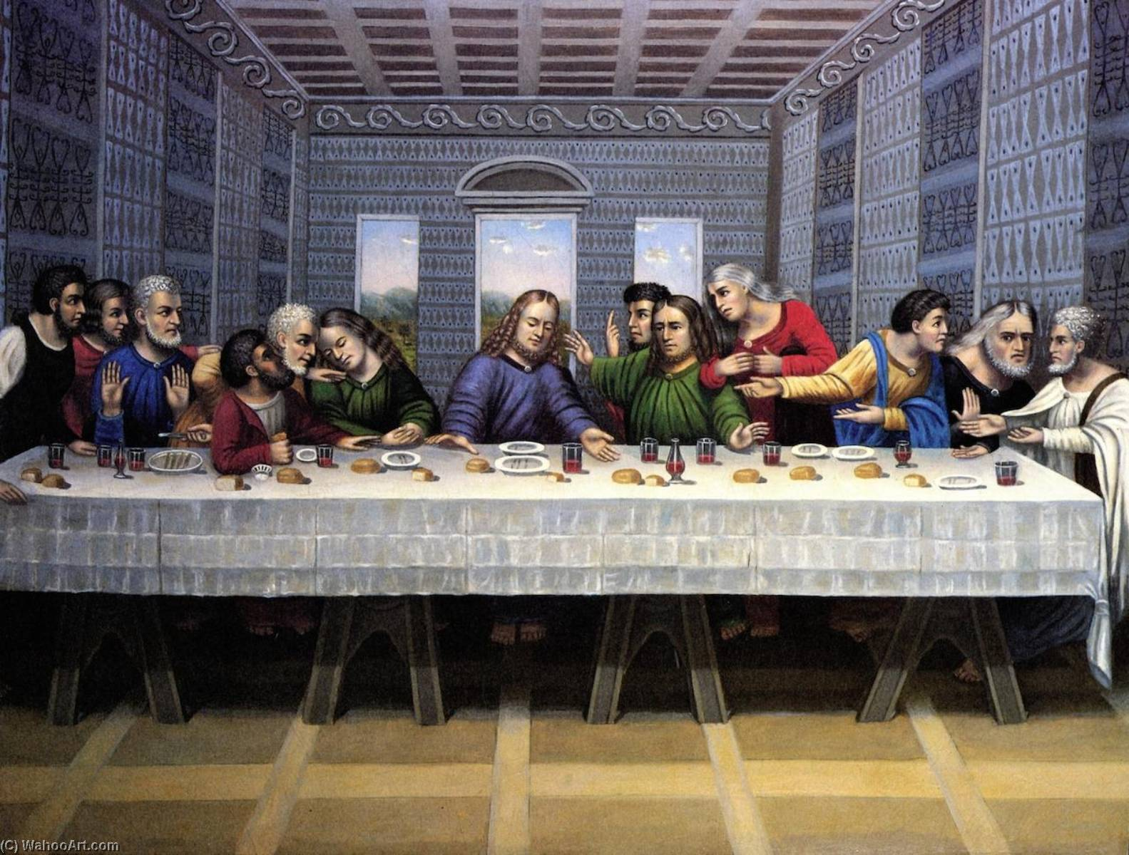 The Last Supper, Oil On Canvas by Erastus Salisbury Field