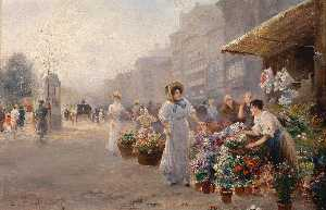 Emil Barbarini - The flower market in Paris
