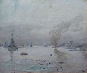 John Lavery - The Fleet A Misty Day, the Firth of Forth