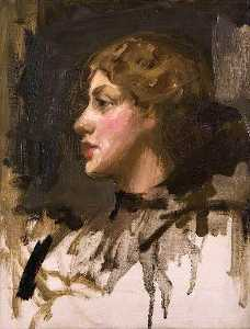 John Lavery - Girl's Head (sketch)