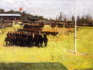 Order Paintings Reproductions | The Musical Ride of the 15th Hussars during the Military Tournament, Glasgow International Exhibition, 1888 by John Lavery (1856-1941, Ireland) | WahooArt.com