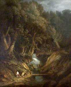 Benjamin Barker Ii - Landscape with a Waterfall