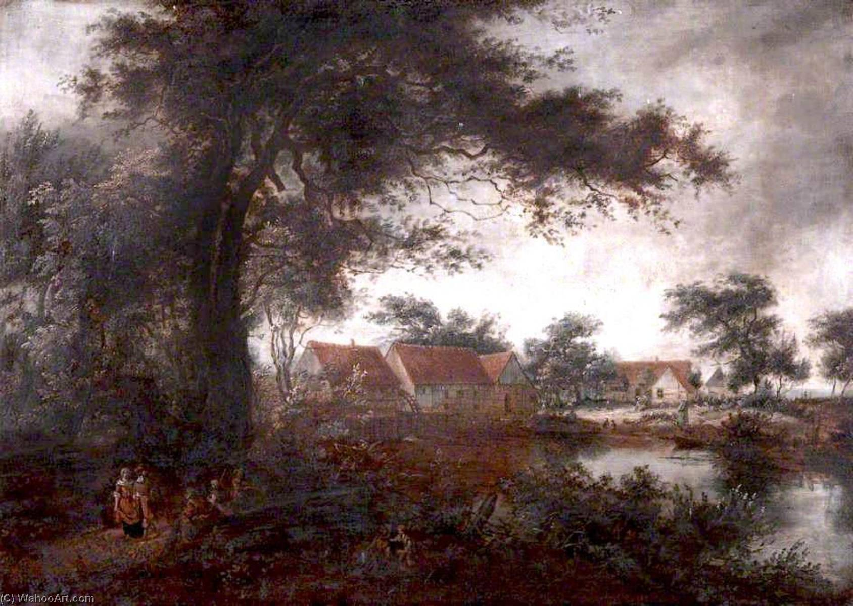 Landscape with a Watermill, Oil On Canvas by Benjamin Barker Ii