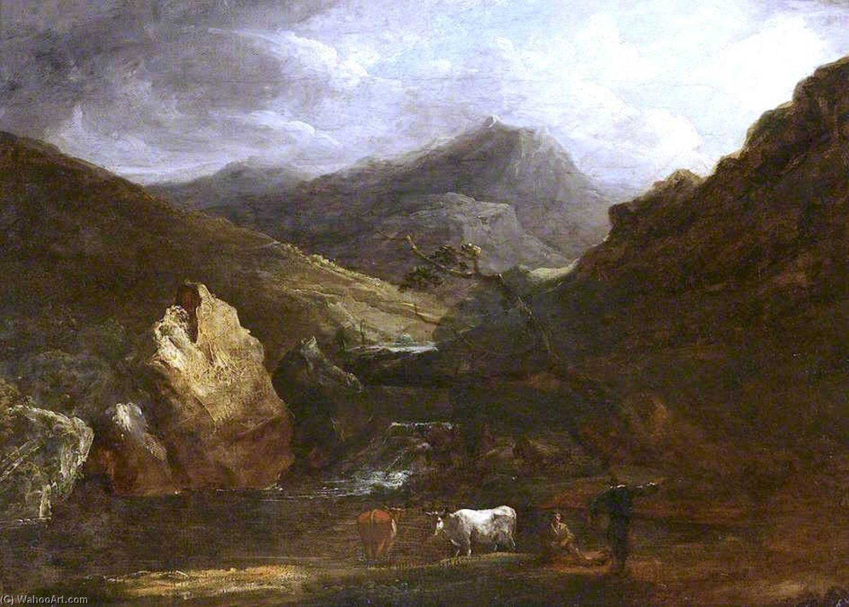 Mountain Landscape with View of Snowdon, 1815 by Benjamin Barker Ii | Oil Painting | WahooArt.com