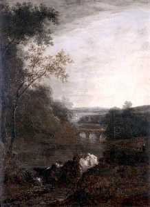 Benjamin Barker Ii - Landscape with a Bridge and a Winding River