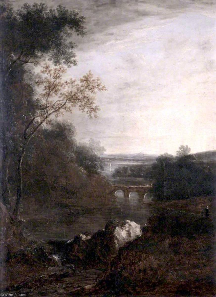 Landscape with a Bridge and a Winding River, Oil On Canvas by Benjamin Barker Ii