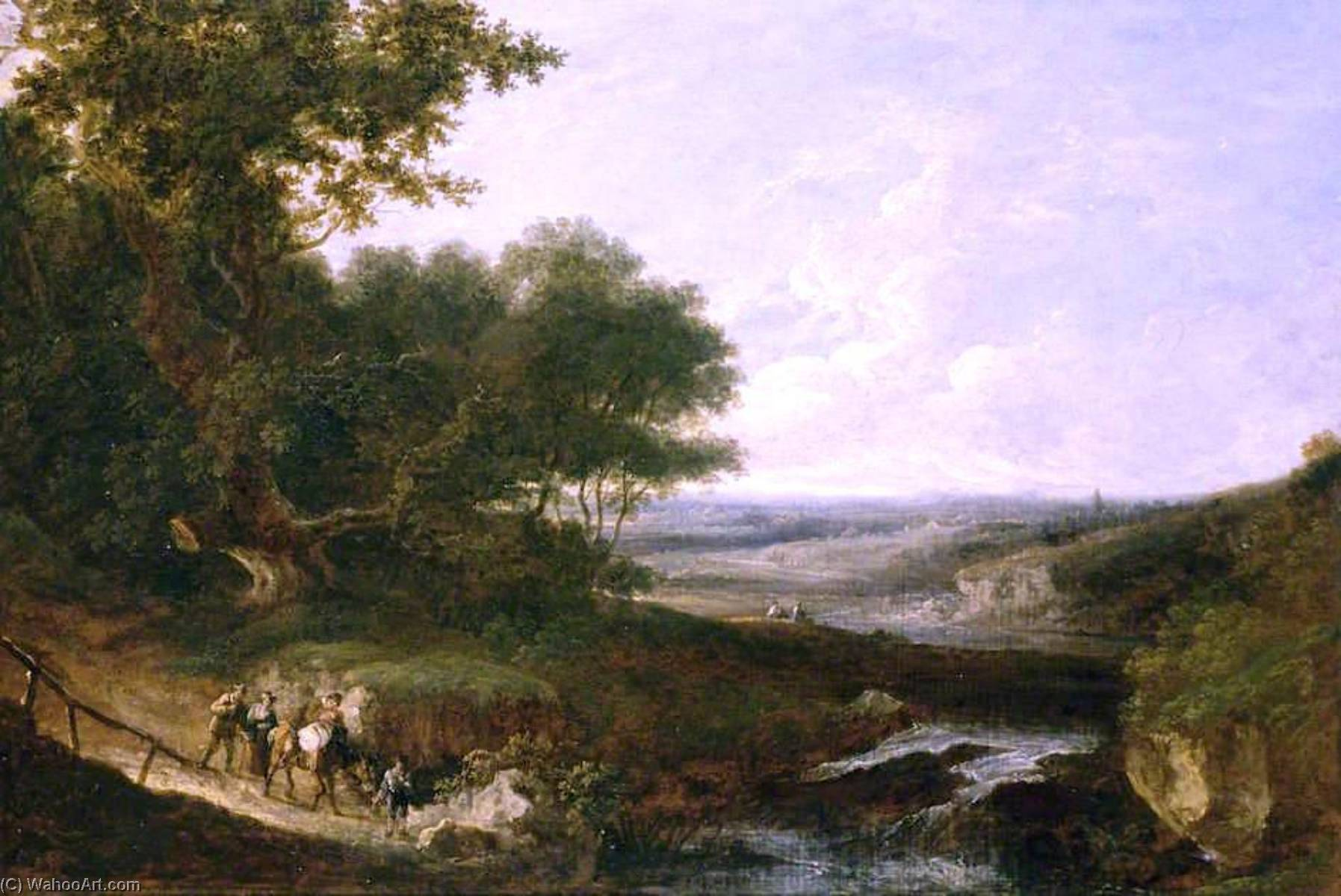 Landscape with a Waterfall (also known as Richly Clouded Landscape with Waterfall) by Benjamin Barker Ii | Museum Quality Reproductions | WahooArt.com