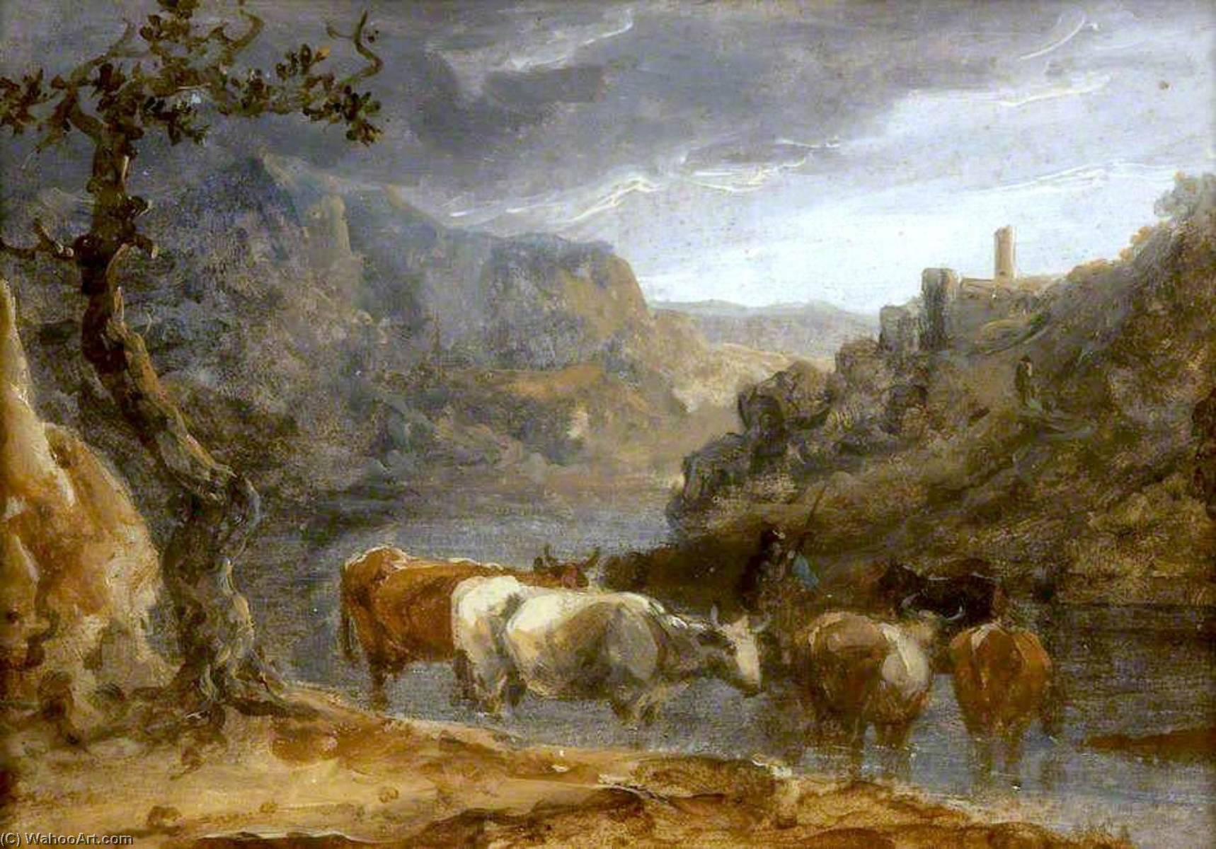 Landscape with Cattle, Oil On Canvas by Benjamin Barker Ii