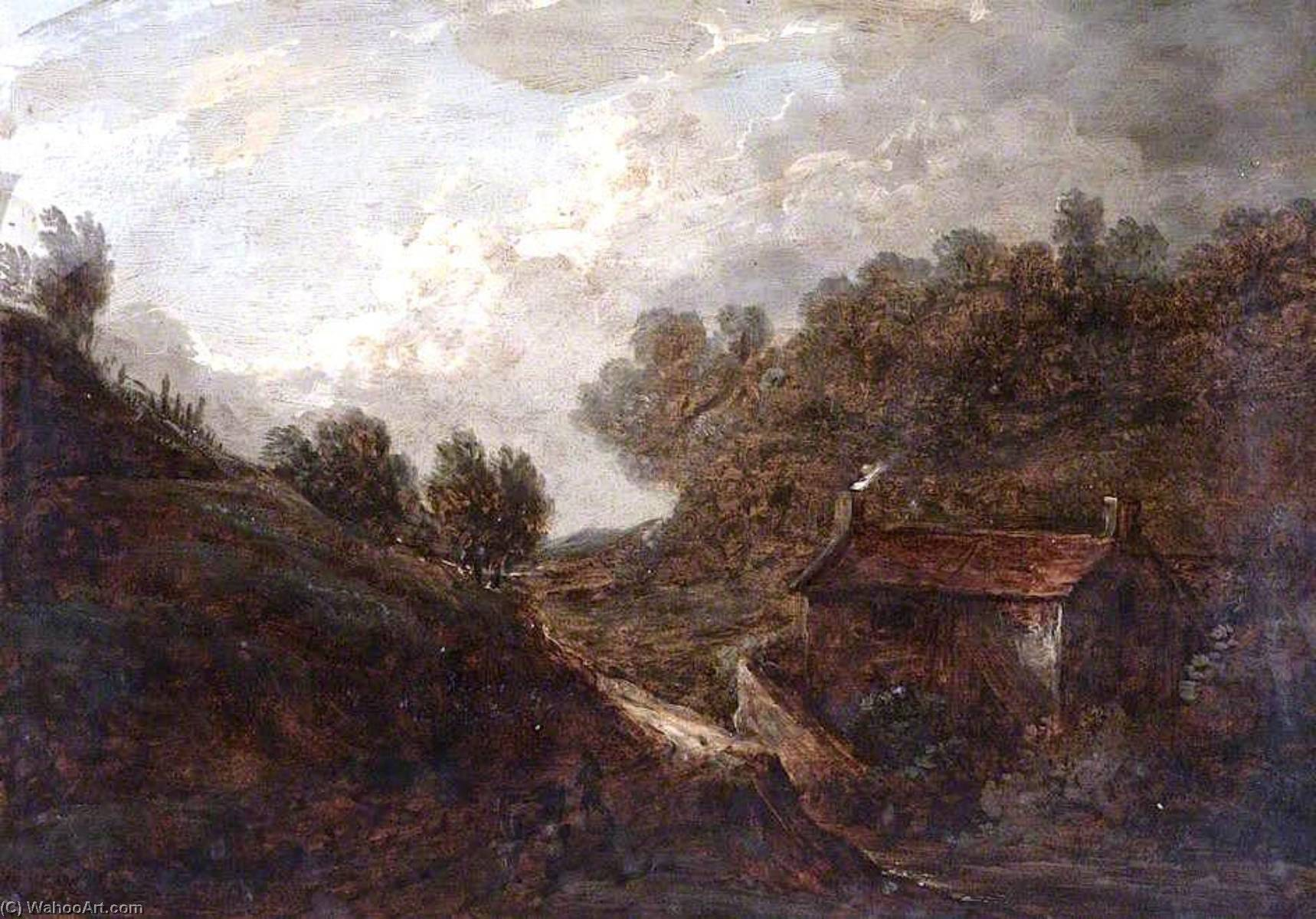 Landscape with a Cottage and a Stream by Benjamin Barker Ii | Oil Painting | WahooArt.com