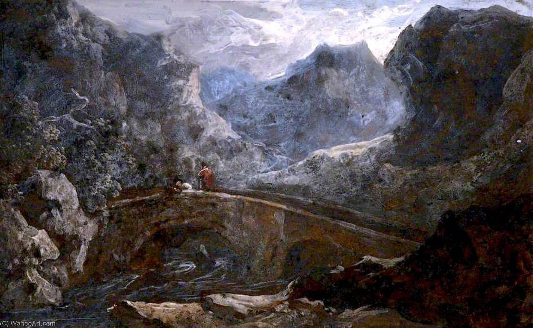 Mountain Valley with a Bridge, Oil On Canvas by Benjamin Barker Ii
