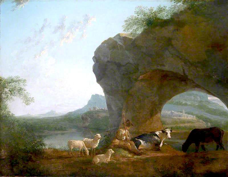 Italianate Landscape with a Herdsman and Three Sheep and Two Cows under a Rock Arch by Benjamin Barker Ii | Oil Painting | WahooArt.com