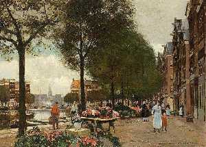 Heinrich Hermanns - Flower market on the Singel in Amsterdam