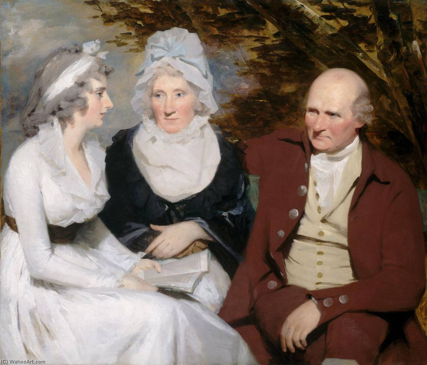 John and Betty Johnstone and Miss Wedderburn, 1795 by Henry Raeburn (1756-1823, United Kingdom) | Famous Paintings Reproductions | WahooArt.com
