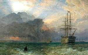 Henry Thomas Dawson - Man of War and a Stormy Sunset The Guardship