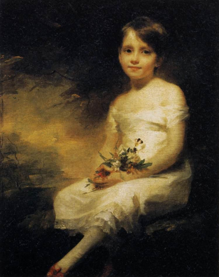 Young Girl Holding Flowers, 1800 by Henry Raeburn (1756-1823, United Kingdom) | Art Reproduction | WahooArt.com