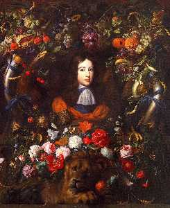 Jan Davidszoon De Heem - Flower Garland with Portrait of William III of Orange, Aged 10