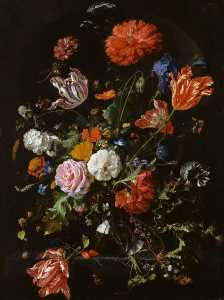 Jan Davidszoon De Heem - Flowers in a Glass Vase