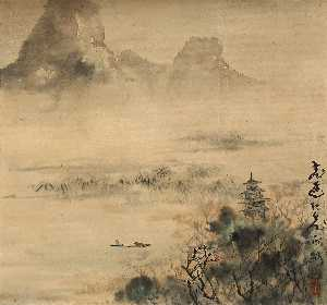 Gao Jianfu - Fishing in the Lake