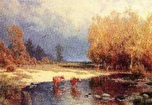 Petr Sukhodolsky - Landscape with the river and the cows