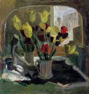 Ray Howard Jones - Flowers in Front of a Mirror