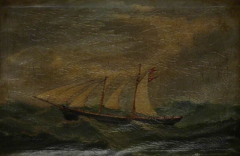 Schooner `Arthur` Dismasted and Sailing on the Atlantic, 1892 by Ruben Chappell | WahooArt.com