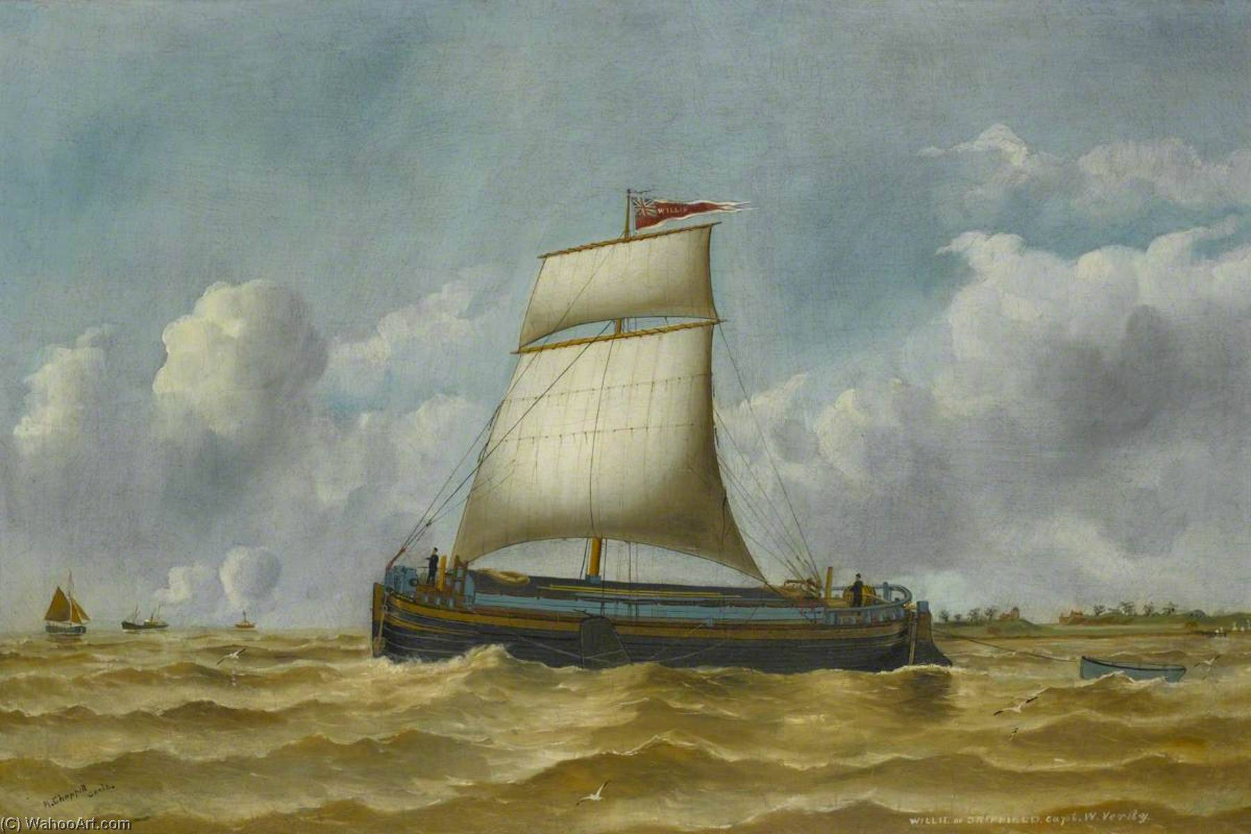 The Humber 'Keel Willie', Oil by Ruben Chappell
