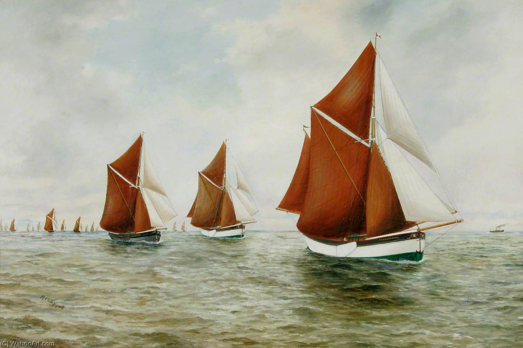 Barges Racing, Oil On Canvas by Ruben Chappell